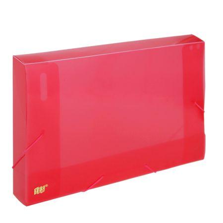 Pasta com aba elástico ofício lombo 40mm - transparente vermelha - CX040S - Yes