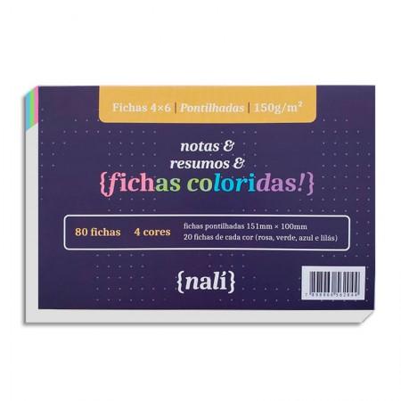 Ficha pontilhada colorida 4x6 - pacote com 80 folhas - Nali