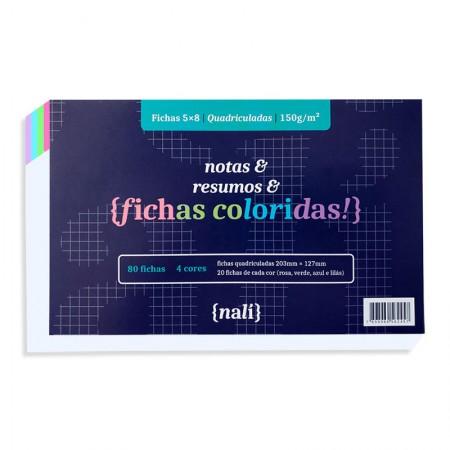 Ficha quadriculada colorida 5x8 - pacote com 80 folhas - Nali