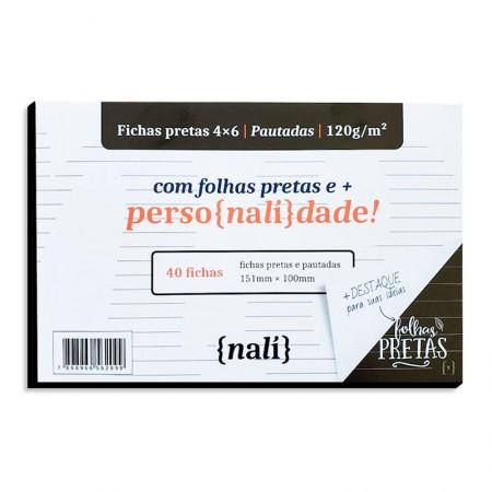 Ficha pautada preta 4x6 - pacote com 40 folhas - Nali