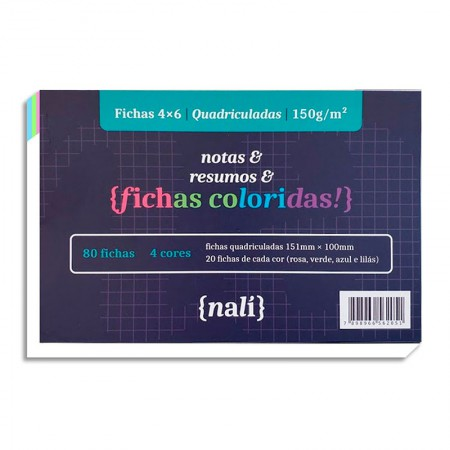 Ficha quadriculada colorida 4x6 - pacote com 80 folhas - Nali