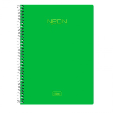 Caderno espiral capa dura sem pauta Pequeno 1/4 - 80 folhas - Neon Verde - Tilibra