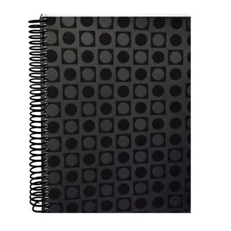 Caderno espiral capa dura universitário 10x1 - 200 folhas - 2357PR - Vision Preto - Dac