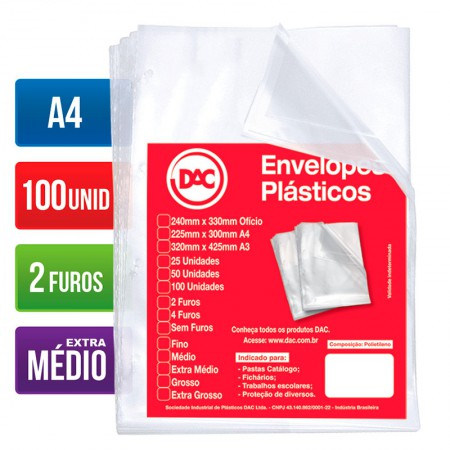 Envelope plástico A4 0.12 2 furos 5179A4 Pct 100 unid - Dac