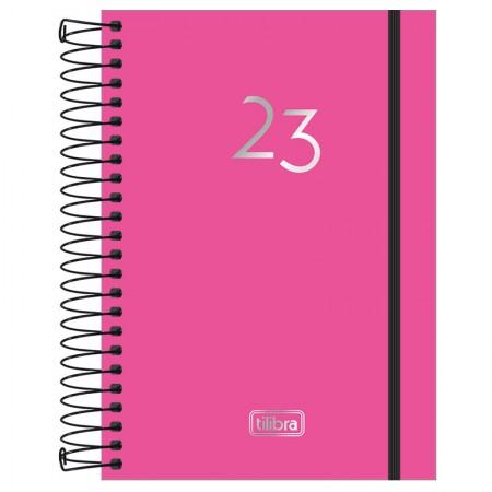 Agenda espiral diária capa plástica Neon 2021 - Rosa - Tilibra