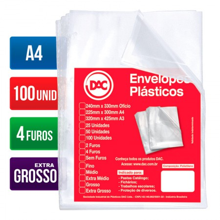 Envelope plástico A4 - 4 furos 0.20 - 5088A4 - pacote com 100 unidades - Dac