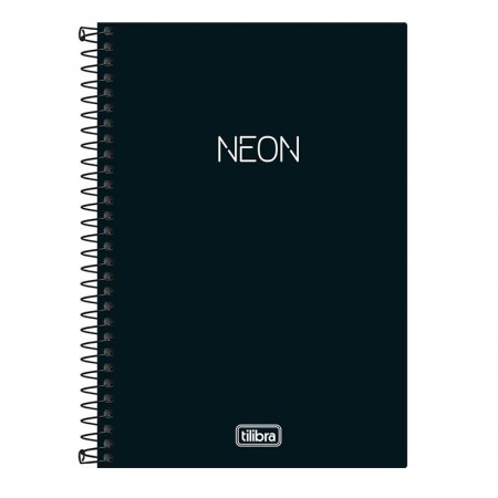 Caderno espiral capa dura com pauta Pequeno 1/4 - 80 folhas - Neon Preto - Tilibra