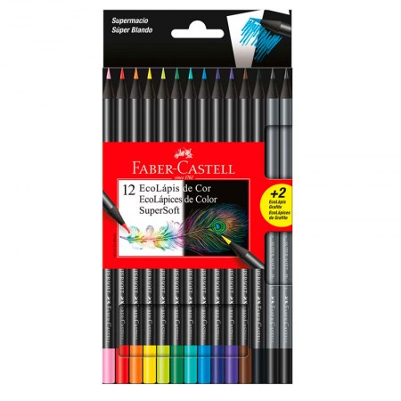 Lápis de cor Super Soft 12 cores + 2 grafite - 120712SOFT+2 - Faber-Castell
