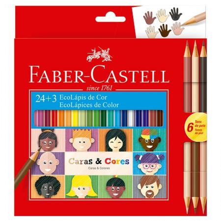 Lápis de cor Caras e Cores 24 cores +  6 tons de pele - 120124CC - Faber-Castell
