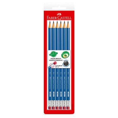 Lápis preto com borracha nr 2 - SM/1210AZB -  com 6 unidades - Faber-Castell