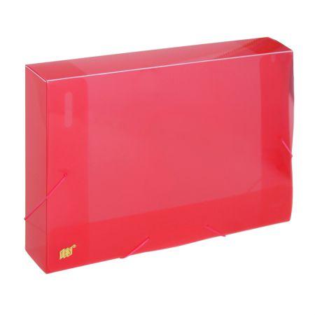 Pasta com aba elástico ofício lombo 50mm - transparente vermelho - CX050S/VM - Yes