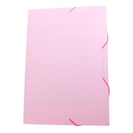 Pasta com aba elástico ofício - Linho Serena - rosa pastel - 0246.WP - Dello