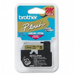 Fita para rotulador 12mm - M831 - dourada escrito em preto - Brother