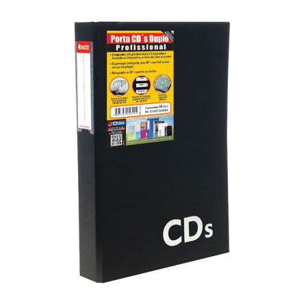 Porta CD duplo 1391 - com 20 refil para 40 CDs - Chies