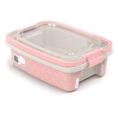 Caixa organizadora Gran Box baixa com alça e trava - rosa - 8850 - 410 ml - Plasútil