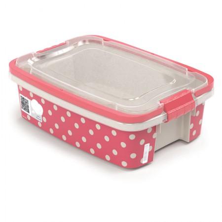 Caixa organizadora Gran Box baixa com alça e trava - rosa - 8852 - 850 ml - Plasútil