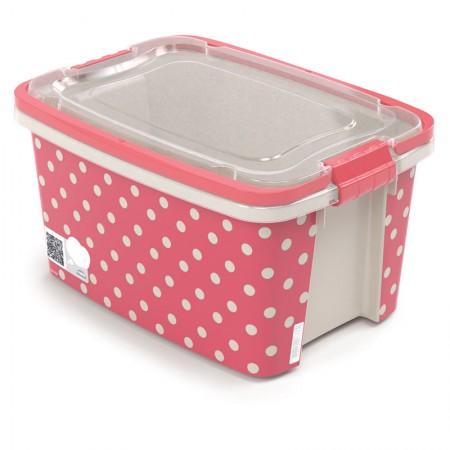 Caixa organizadora Gran Box alta com alça e trava - rosa - 8853 - 1,5 litros - Plasútil