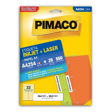Etiqueta inkjet/laser A4254 - com 25 folhas - Pimaco