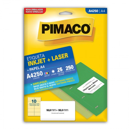 Etiqueta inkjet/laser A4250 - com 25 folhas - Pimaco