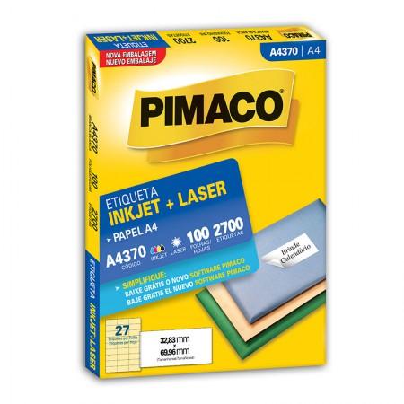 Etiqueta inkjet/laser A4370 - com 100 folhas - Pimaco