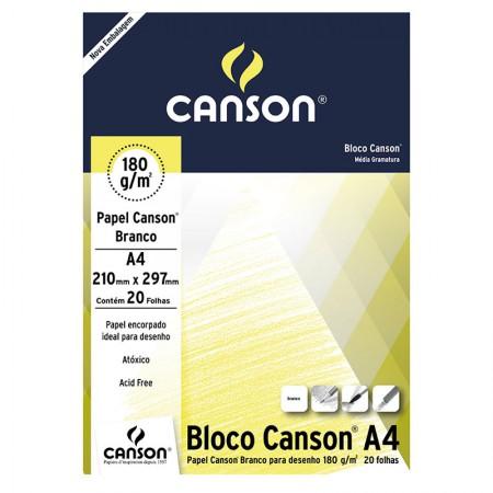 Bloco Canson branco A4 180g - com 20 folhas - Canson
