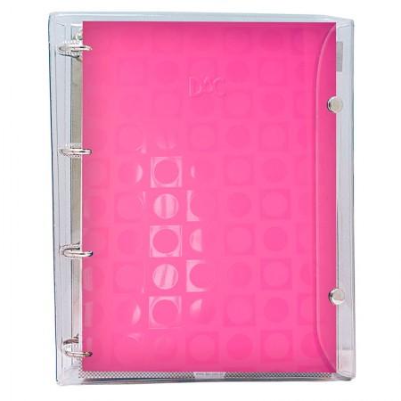 Fichário universitário 4 argolas 2395 Vision Rosa Transparente Dac