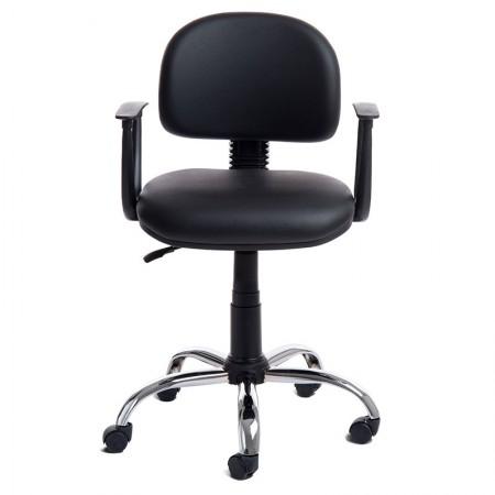 Cadeira Tyson preta giratória/base cromada - 000842 - Rossi