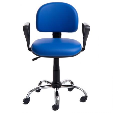Cadeira Tyson azul giratória/base cromada - CA0259 - Rossi