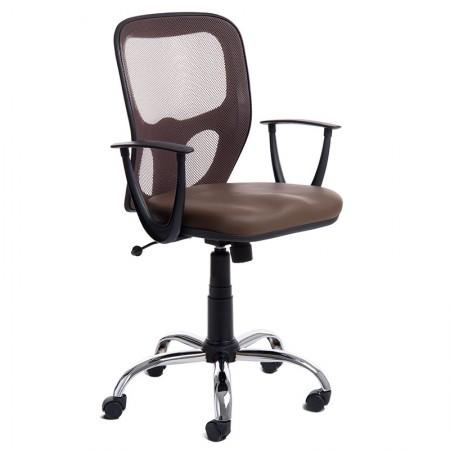 Cadeira Índia giratória cor chocolate/base cromada - CA0534 - Rossi