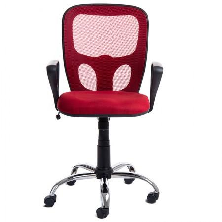 Cadeira Índia giratória cor vermelha/base cromada - CA0534 - Rossi