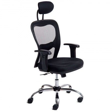 Cadeira Citiz giratória preta/base cromada - 000846 - Rossi