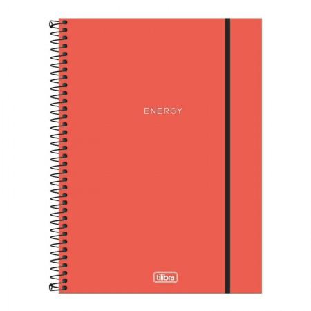 Caderno capa plástica universitário 1x1 Neon Coral 80 Fls - Tilibra