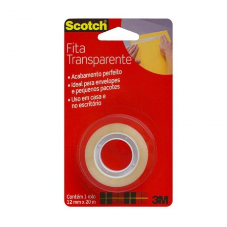 Fita Scotch transparente - 12mmx20m - 3M