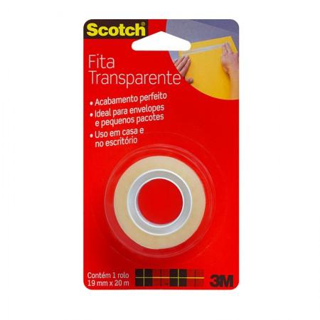 Fita Scotch transparente sem aparelho - 19mmx20m - 3M