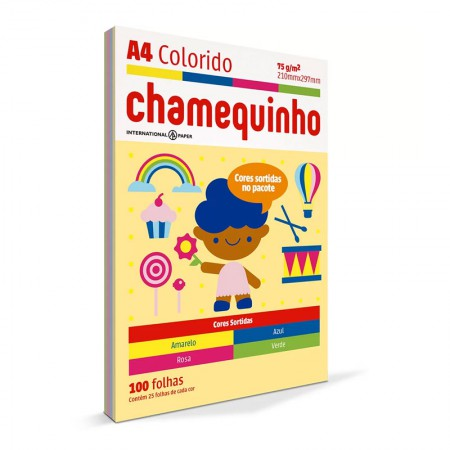 Papel sulfite A4 colorido 210x297 - com 100 folhas - Chamequinho