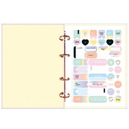 Agenda planner argolado samanal Happy 2021 - Rosa pastel - Tilibra