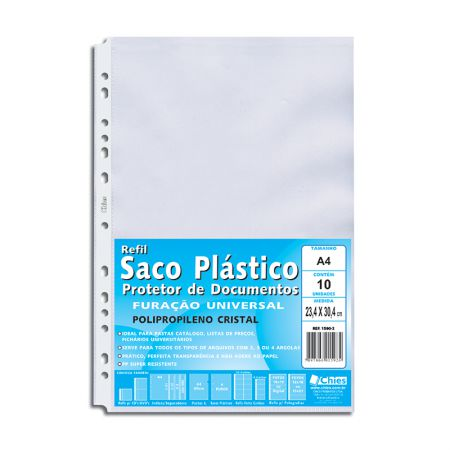 Envelope saco plástico A4 1590 gofrado - pacote com 10 unidades - Chies