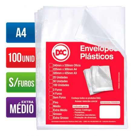 Envelope plástico A4 0.12 - sem furos - 5177A4 - pacote com 100 unidades - Dac
