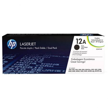 Toner HP Original (12A) Q2612AE - preto 2000 páginas - com 2 unidades