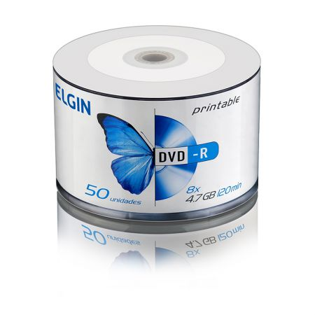 DVD-R virgem 4.7GB 120 minutos - printable - pino com 50 unidades - Elgin