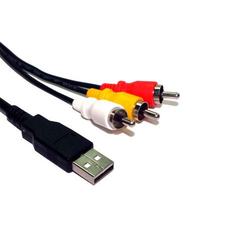 Cabo de áudio e vídeo RCA x USB macho - com 2 metros - 70224 - Tblack