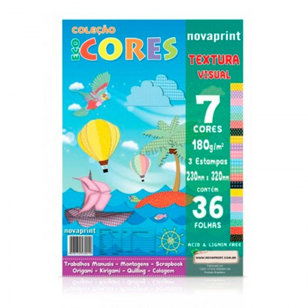 Bloco ecocores estampa visual 180g 230x320mm 36fls 7cores Novaprint