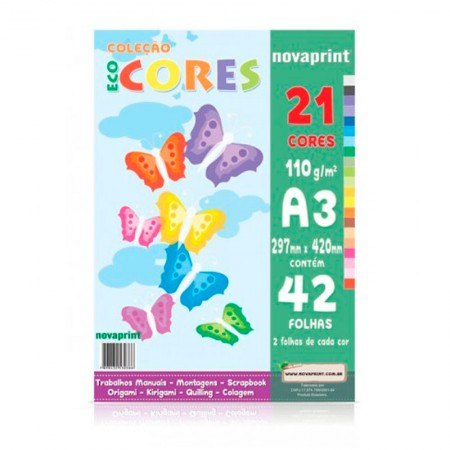 Bloco ecocores 110g - 297x420mm - 42 folhas com 21 cores - Novaprint