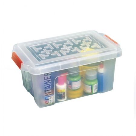Caixa organizadora box baixa com trava - cristal - OR-04 - 4,5 litros - São Bernardo