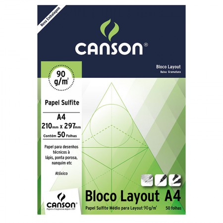 Bloco layout liso A4 90g - com 50 folhas - Canson