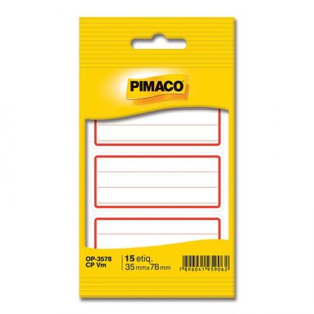 Etiqueta escolar OP-3578 - com pauta e tarja vermelha - pacote com 15 unidade - Pimaco