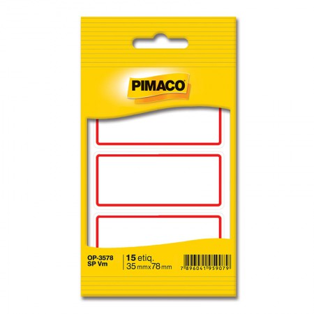 Etiqueta escolar OP-3578 - sem pauta e tarja vermelha - pacote com 15 unidade - Pimaco