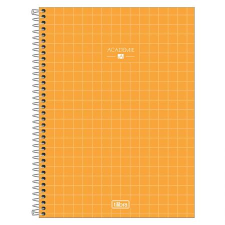 Caderno espiral capa dura universitário 10x1 - 160 folhas - Academie - Amarelo - Tilibra