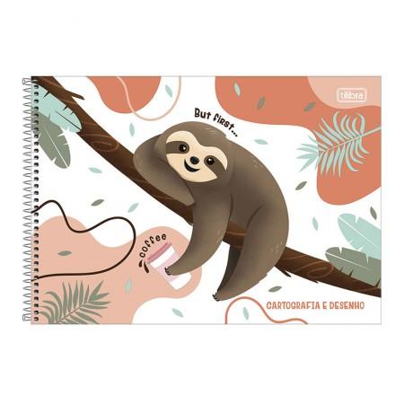 Caderno espiral capa dura cartografia - 80 folhas - Nap Nap Preguiça - Capa 2 - Tilibra