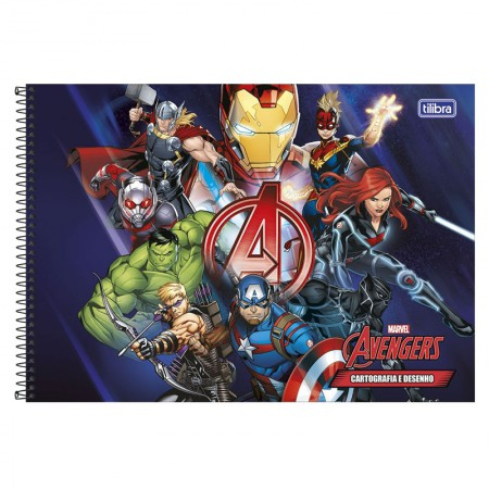 Caderno espiral capa dura cartografia - 80 folhas - Os Vingadores - Capa 1 - Tilibra